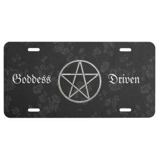 Gothic Eternal Pentacle Black License Plate
