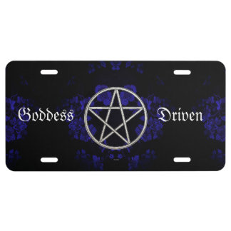 Gothic Eternal Pentacle Blue License Plate