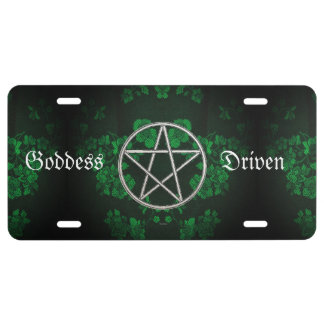 Gothic Eternal Pentacle Green License Plate