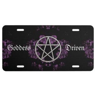 Gothic Eternal Pentacle Lavendar License Plate