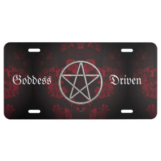 Gothic Eternal Pentacle Red License Plate
