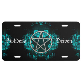 Gothic Eternal Pentacle Turquoise License Plate