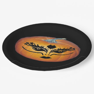 Gothic Face Jack-O-Lantern 9 Inch Paper Plate
