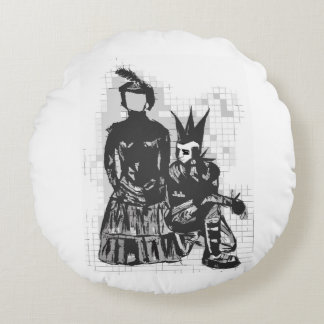 Gothic Faceless Woman and Punk Guy Pillow