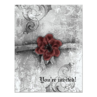 Gothic Faded Red Floral Wedding Accessories set Card