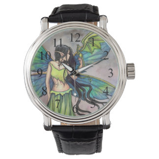 Gothic Fairy and Dragon Myscial Fantasy Art Wrist Watches
