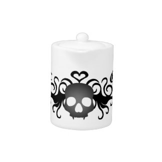 Gothic fanged skull black and gray