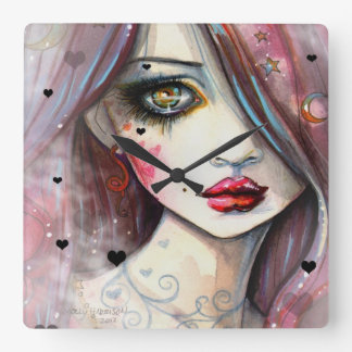 Gothic Fantasy Art Girl with Hearts Square Wall Clock