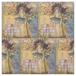 Gothic Fish Pisces Woman Renaissance Whimsical Fabric