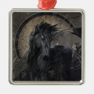 Gothic Friesian Horse Silver-Colored Square Ornament