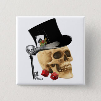 Gothic gambler skull tattoo design 2 inch square button