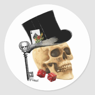 Gothic gambler skull tattoo design round sticker