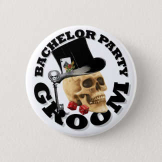 Gothic gambling grooms bachelor party 2 inch round button