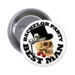 Gothic gambling skull bachelor party 2 inch round button