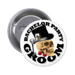 Gothic Gambling skull bachelor party Pinback Button