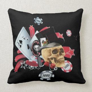 Gothic gambling skull casino throw pillow