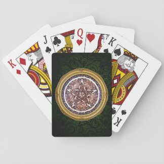 Gothic Gate Pentacle Playing Cards - Green