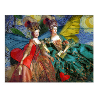 Gothic Gemini Whimsical Butterfly Women Postcard