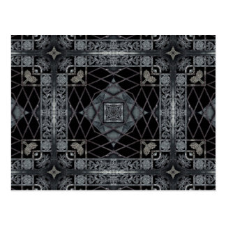 Gothic geometric design in black and gray postcard