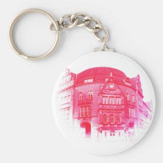 gothic german building digital effect red tint basic round button keychain