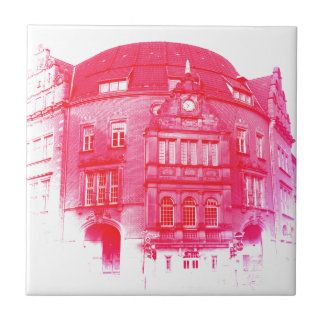 gothic german building digital effect red tint ceramic tile