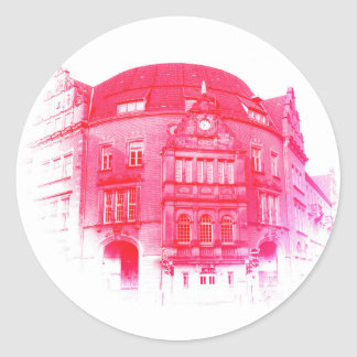 gothic german building digital effect red tint classic round sticker