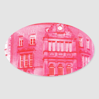 gothic german building digital effect red tint oval sticker