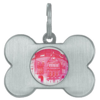 gothic german building digital effect red tint pet name tag