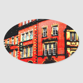 gothic german building mystic view oval sticker
