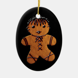 Gothic Gingerbread Cookie Ceramic Oval Ornament