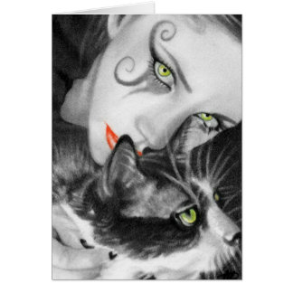Gothic Girl Kitty Card