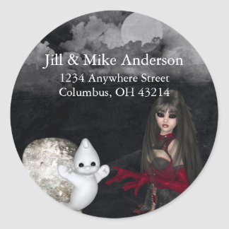 Gothic Girl Tombstone & Ghost Return Address Label