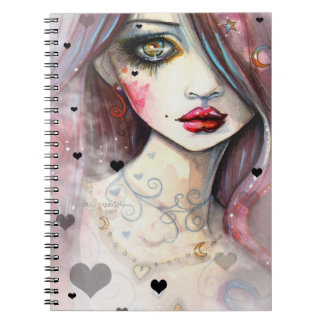 Gothic Girl With Hearts Art Spiral Notebook