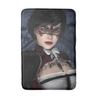 Gothic Girl with Ruby Necklace Bath Mat