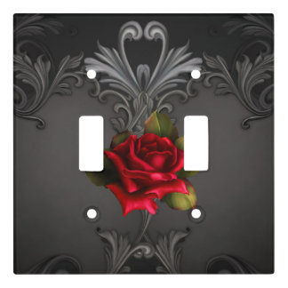Gothic Glamour Red Rose Black Ornamental Glam Light Switch Cover