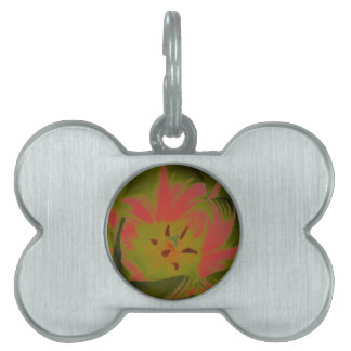 Gothic Gloomy Red Tulip Pet Tag