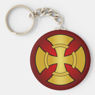 Gothic Gold and Red Cross Basic Round Button Keychain