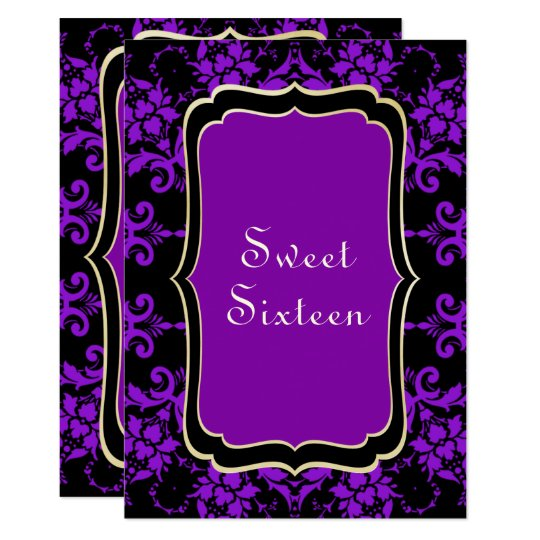 Gothic Gold & Lilac Damask Card