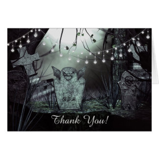 Gothic Graveyard with Enchanting Lights Thank You Card