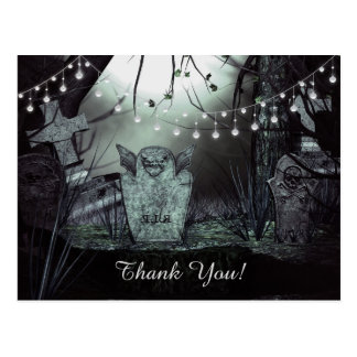 Gothic Graveyard with Enchanting Lights Thank You Postcard