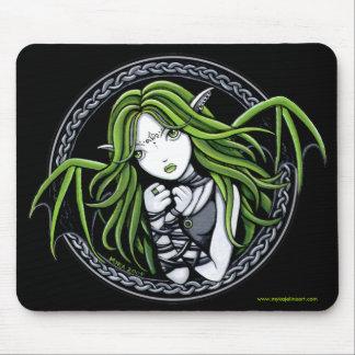 Gothic Green Bat Fairy Art Mousepad