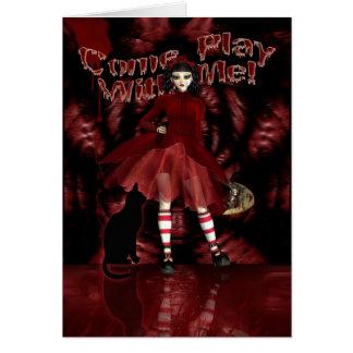 Gothic Greeting Card, Gothic Doll Cute Card