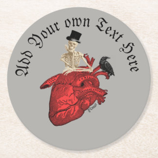 Gothic groom skeleton and heart round paper coaster