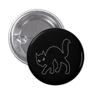 Gothic Halloween Scary Kitty Cat 1 Inch Round Button