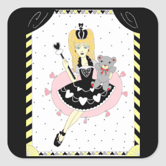Gothic Hearts Princess Square Sticker