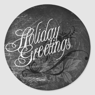 Gothic Holiday Greetings Classic Round Sticker