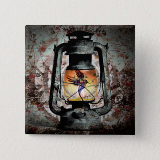 Gothic Hummingbird Lantern 2 Inch Square Button