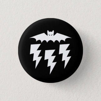 Gothic Industrial Bat Cat Lightning Storm 1 Inch Round Button