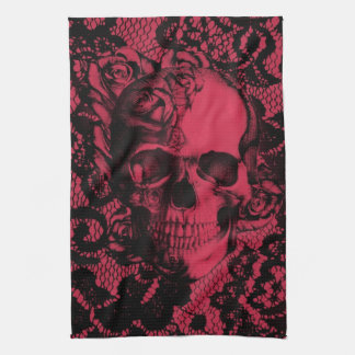Gothic lace skull in red and black kitchen towel