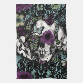 Gothic lace skull in teal and purple kitchen towel